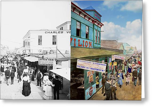 York Beach Greeting Cards - CITY - NY - The Bowery 1900 - Side by side Greeting Card by Mike Savad