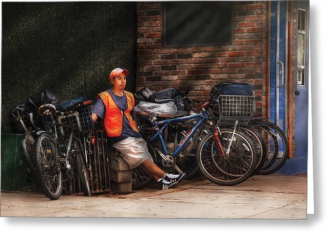 City - Ny - Waiting For The Next Delivery Greeting Card by Mike Savad