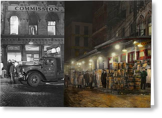 Lettuce Greeting Cards - City - NY - Washington Street Market buying at night - 1952 - Side by side Greeting Card by Mike Savad