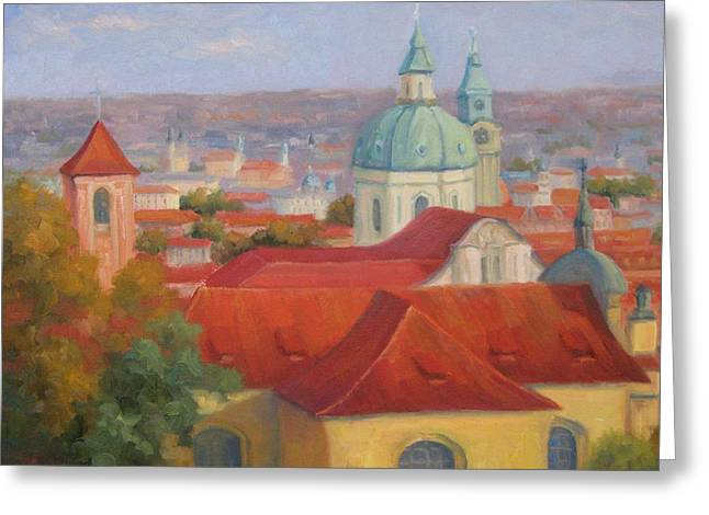 Prague Paintings Greeting Cards - City of a Thousand Spires Greeting Card by Bunny Oliver