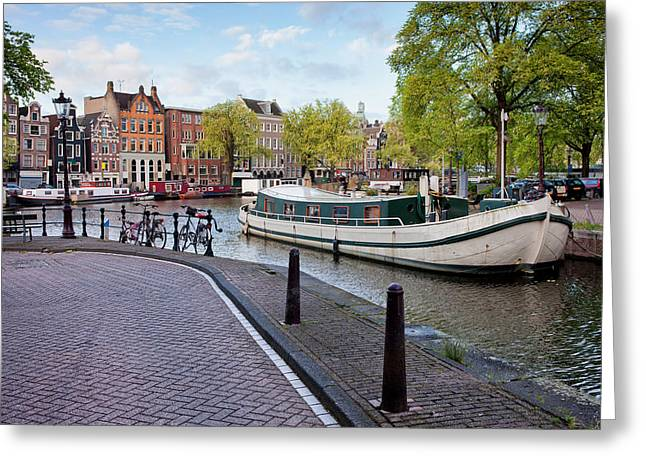 Residential Structure Greeting Cards - City of Amsterdam Cityscape Greeting Card by Artur Bogacki