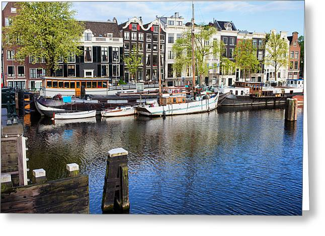 Old Home Place Greeting Cards - City of Amsterdam River View Greeting Card by Artur Bogacki