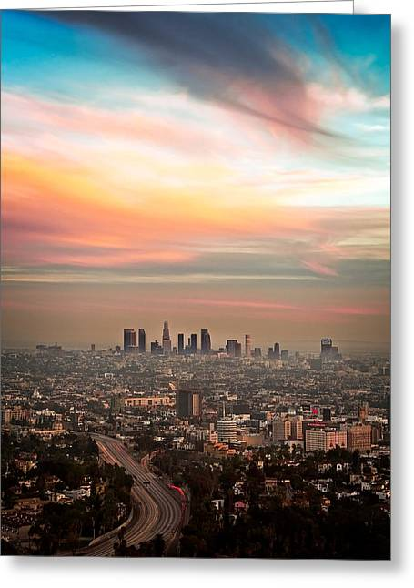 Los Angeles Freeways Greeting Cards - City of Angels Greeting Card by Aron Kearney Fine Art Photography