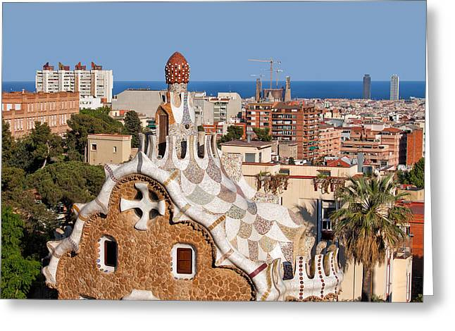 Catalunya Greeting Cards - City of Barcelona from Park Guell Greeting Card by Artur Bogacki