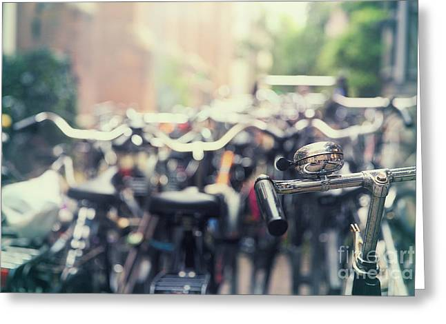 Handlebar Greeting Cards - City of bikes Greeting Card by Jane Rix
