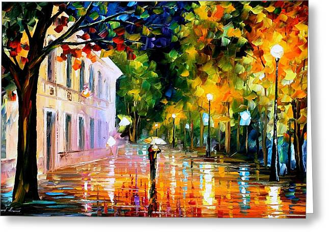Popular Art Greeting Cards - City Of Destiny - PALETTE KNIFE Oil Painting On Canvas By Leonid Afremov Greeting Card by Leonid Afremov
