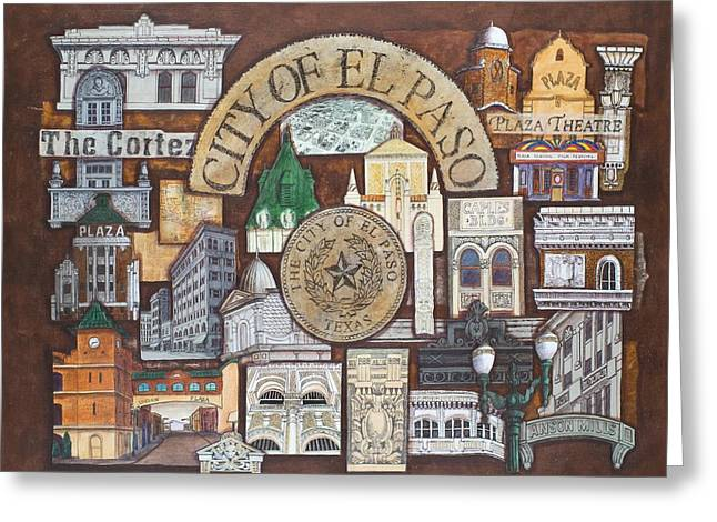 Facades Mixed Media Greeting Cards - City of El Paso Greeting Card by Candy Mayer