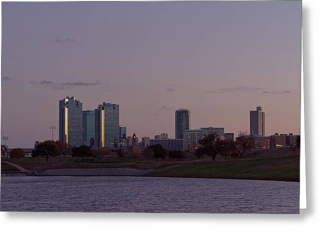 Metroplex Greeting Cards - City Of Fort Worth After Sunset Greeting Card by Jonathan Davison