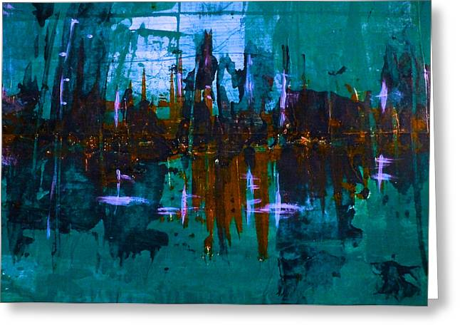 Gloaming Mixed Media Greeting Cards - City of Gloam Greeting Card by Suzen JueL
