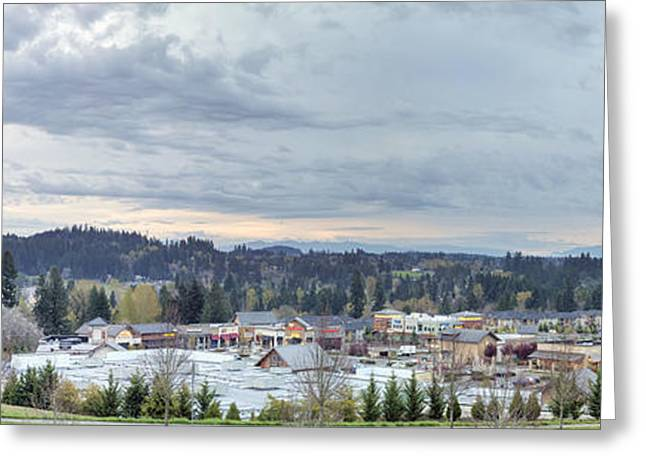 City Of Happy Valley Downtown Panorama Greeting Card by JPLDesigns