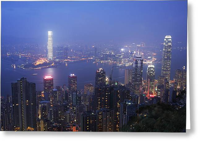 Kowloon Greeting Cards - City of Haze Greeting Card by Afrison Ma