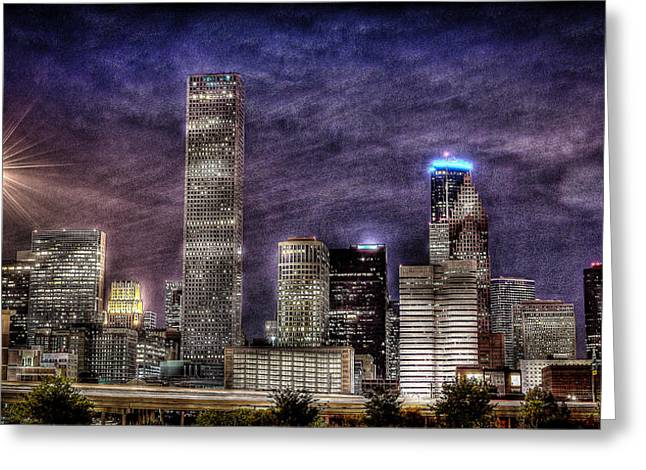Creative Photography Greeting Cards - CIty of Houston Skyline Greeting Card by David Morefield