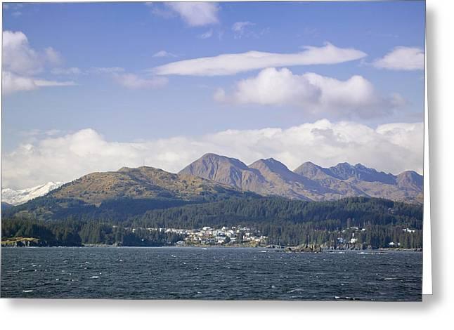 Kodiak Island Greeting Cards - City Of Kodiak On Monashka Bay Kodiak Greeting Card by Kevin Smith