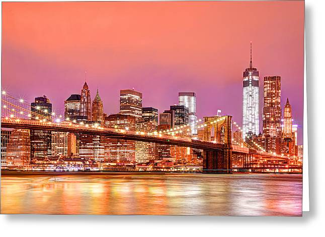 Dumbo Greeting Cards - City of Lights Greeting Card by Midori Chan