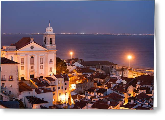 Urban Scenery Greeting Cards - City of Lisbon in Portugal at Night Greeting Card by Artur Bogacki