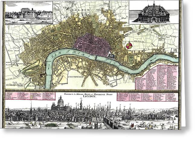 Historic England Drawings Greeting Cards - City of London - map - 1740 Greeting Card by Pablo Romero
