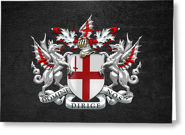 Leather Coat Greeting Cards - City of London - Coat of Arms over Black Leather  Greeting Card by Serge Averbukh
