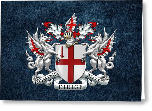 Leather Coat Greeting Cards - City of London - Coat of Arms over Blue Leather  Greeting Card by Serge Averbukh