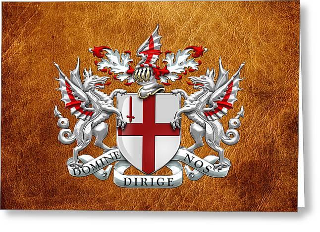 Leather Coat Greeting Cards - City of London - Coat of Arms over Brown Leather  Greeting Card by Serge Averbukh
