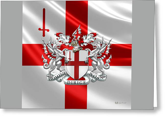 Coa Greeting Cards - City of London - Coat of Arms over Flag  Greeting Card by Serge Averbukh