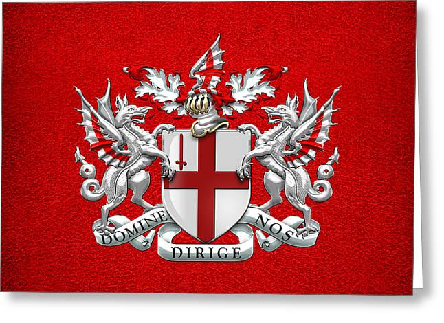 Leather Coat Greeting Cards - City of London - Coat of Arms over Red Leather  Greeting Card by Serge Averbukh