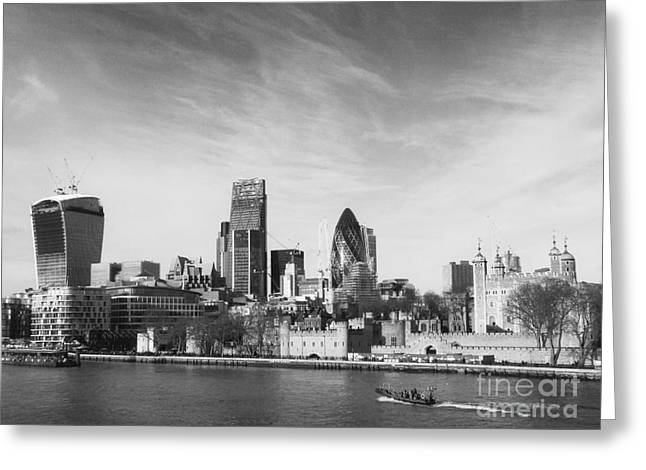 Landmark And Bridges Greeting Cards - City of London  Greeting Card by Pixel Chimp