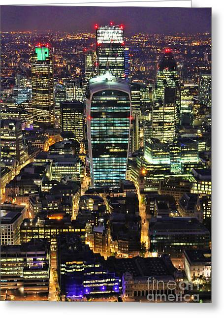 City Lights Greeting Cards - City of London Skyline at Night Greeting Card by Jasna Buncic