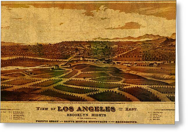 View Mixed Media Greeting Cards - City of Los Angeles California Vintage Birds Eye View City Street Map 1877 Greeting Card by Design Turnpike