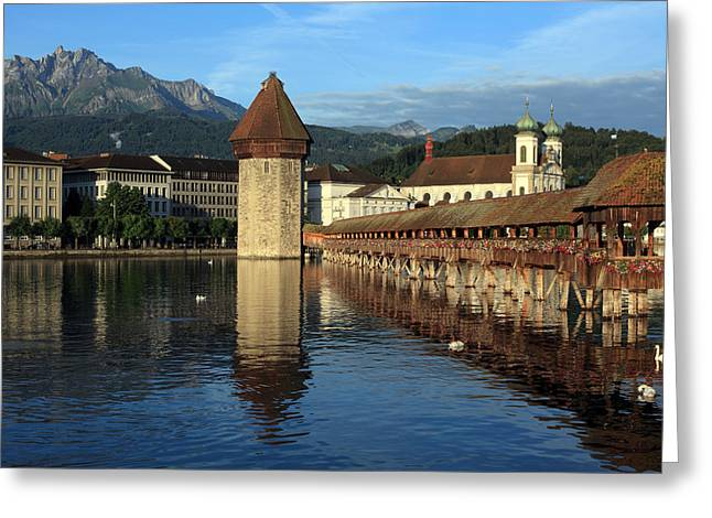 Swiss Photographs Greeting Cards - City of Lucerne in Switzerland Greeting Card by Ron Sumners