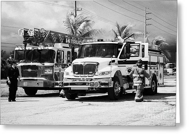 Brigade Greeting Cards - City Of Marathon Fire Engine Ladder Truck And Rescue Vehicle Emergency Services Florida Keys Usa Greeting Card by Joe Fox