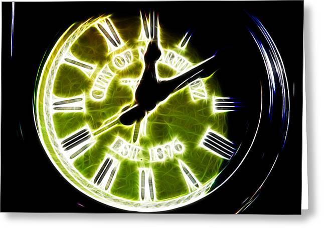 East Bay Digital Art Greeting Cards - City of Martinez California Town Clock - 5D20862 - Electric Greeting Card by Wingsdomain Art and Photography