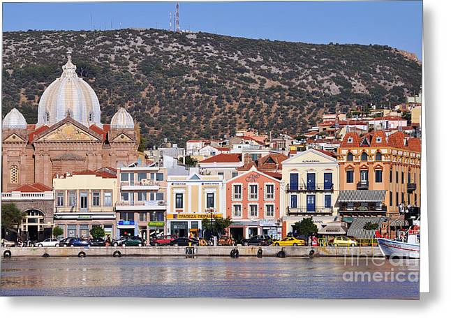 Harbor Greeting Cards - City of Mytilini Greeting Card by George Atsametakis