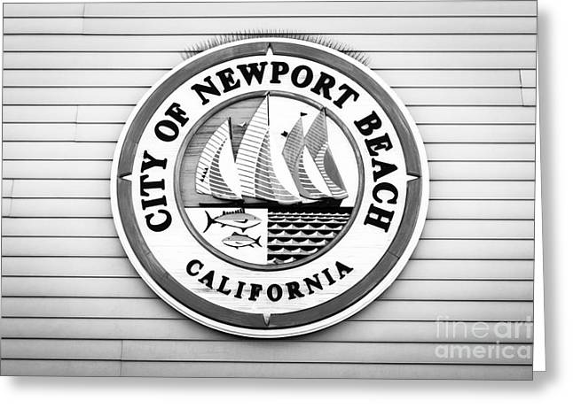 Signed Photographs Greeting Cards - City of Newport Beach Sign Black and White Picture Greeting Card by Paul Velgos