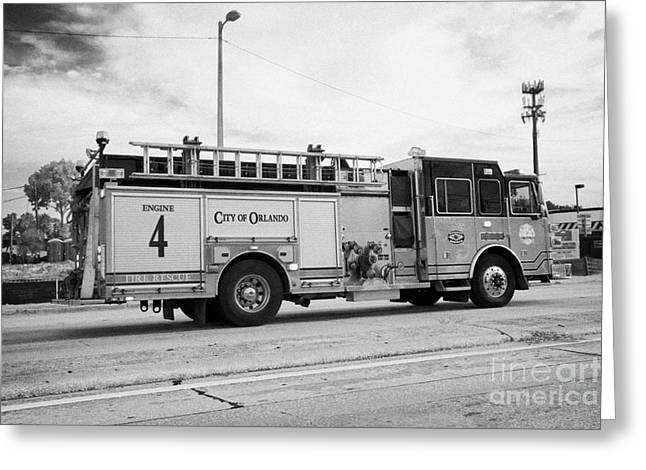Brigade Greeting Cards - City Of Orlando Fire Rescue Fire Truck On Call Orlando Florida Usa Greeting Card by Joe Fox