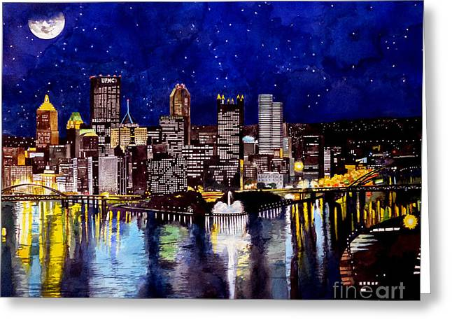 Citizens Bank Park. Paintings Greeting Cards - City of Pittsburgh Pennsylvania  Greeting Card by Christopher Shellhammer