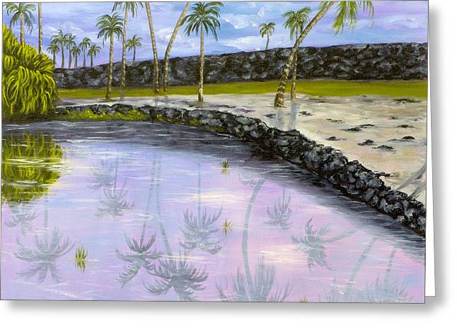 Palm Tree Reflection Greeting Cards - City of Refuge Reflections Greeting Card by Darice Machel McGuire