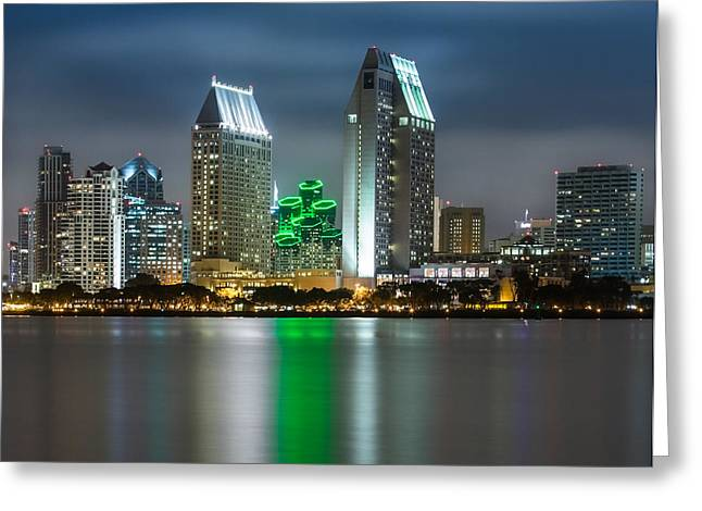 City Lights Greeting Cards - City of San Diego Skyline 1 Greeting Card by Larry Marshall