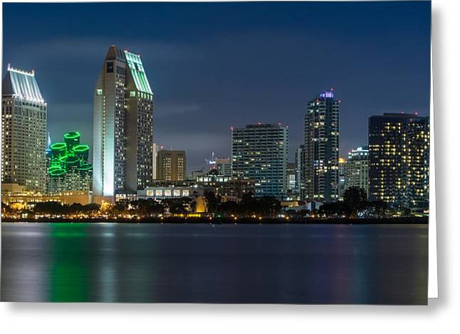 City Lights Greeting Cards - City of San Diego Skyline 2 Greeting Card by Larry Marshall