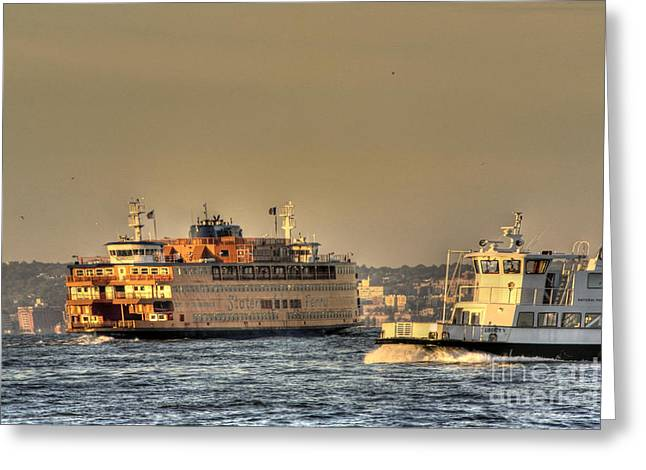 Staten Island Ferry Greeting Cards - City of ships Greeting Card by David Bearden