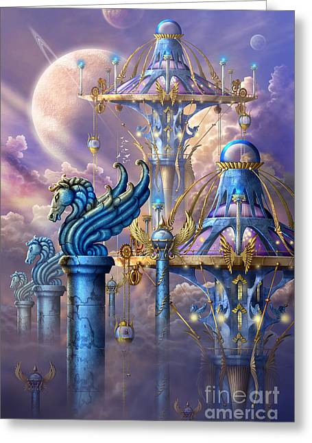 Celestial Bodies Greeting Cards - City of swords Greeting Card by Ciro Marchetti