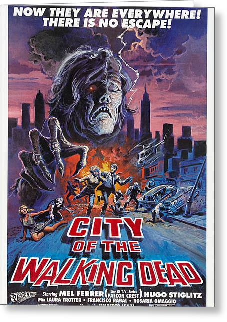Horror Greeting Cards - City Of The Walking Dead Greeting Card by MMG Archives