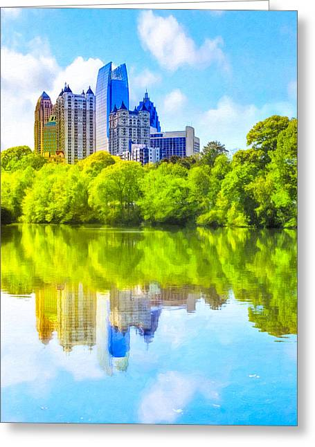 Reflection Of Trees In Lake Greeting Cards - City of Tomorrow - Atlanta Midtown Skyline Greeting Card by Mark Tisdale