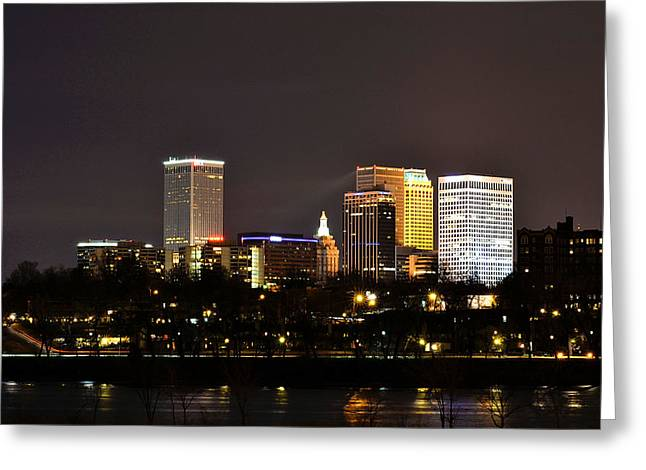 Riverpark Greeting Cards - City of Tulsa Greeting Card by Valerie Clanton