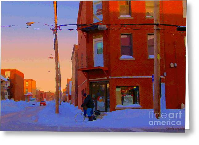 Verdun Food Greeting Cards - City Of Verdun Winter Sunset Pierrette Patates Art Of Montreal Street Scenes Carole Spandau Greeting Card by Carole Spandau