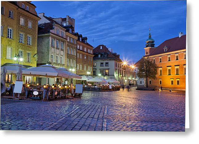 Polish Old Town Greeting Cards - City of Warsaw in the Evening Greeting Card by Artur Bogacki