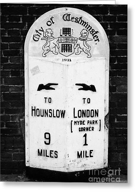 Milestone Greeting Cards - city of westminster old metal milestone between london and hounslow London England UK Greeting Card by Joe Fox