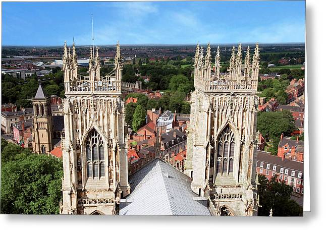 City Of York, York Minster, Cathedral Greeting Card by Miva Stock