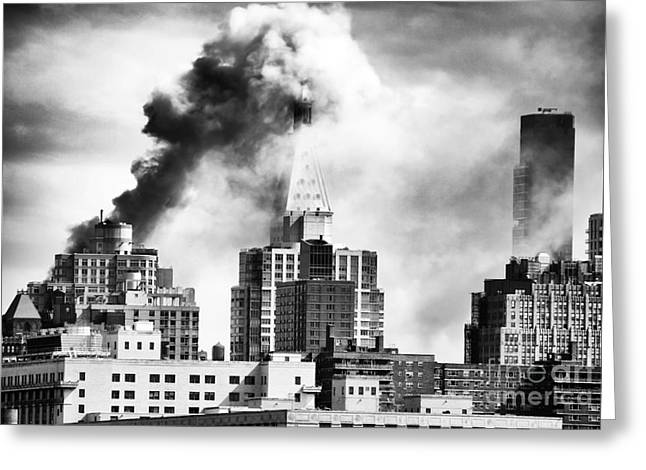 Burning Building Greeting Cards - City on Fire Greeting Card by John Rizzuto
