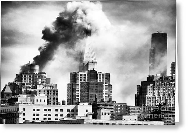 Burning Buildings Greeting Cards - City on Fire Greeting Card by John Rizzuto