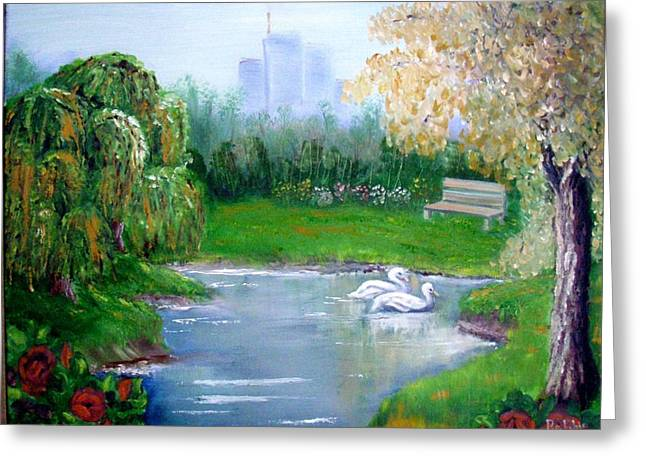 Swans... Greeting Cards - City Park Greeting Card by Bobbie Roberts
